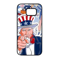 United States Of America Celebration Of Independence Day Uncle Sam Samsung Galaxy S7 Edge Black Seamless Case by Sapixe