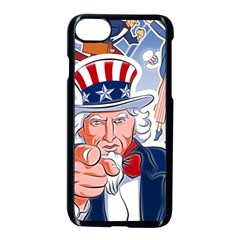 United States Of America Celebration Of Independence Day Uncle Sam Apple Iphone 7 Seamless Case (black) by Sapixe