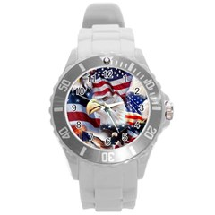 United States Of America Images Independence Day Round Plastic Sport Watch (l) by Sapixe