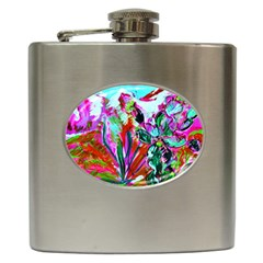 Desrt Blooming With Red Cactuses Hip Flask (6 Oz) by bestdesignintheworld
