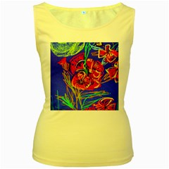 Red Poppies Women s Yellow Tank Top by bestdesignintheworld