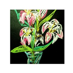 Dscf1389   Lillies In The Vase Small Satin Scarf (square) by bestdesignintheworld