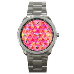 Squama Fhis Paint Flower Of Life Pattern Sport Metal Watch by Cveti
