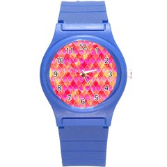 Squama Fhis Paint Flower Of Life Pattern Round Plastic Sport Watch (s) by Cveti