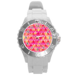 Squama Fhis Paint Flower Of Life Pattern Round Plastic Sport Watch (l) by Cveti