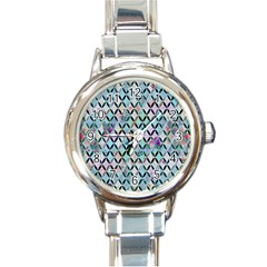 Rhomboids Flower Of Life Paint Pattern Round Italian Charm Watch by Cveti