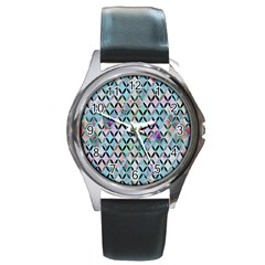 Rhomboids Flower Of Life Paint Pattern Round Metal Watch