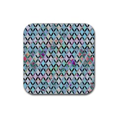 Rhomboids Flower Of Life Paint Pattern Rubber Square Coaster (4 Pack)  by Cveti