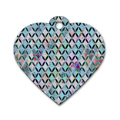 Rhomboids Flower Of Life Paint Pattern Dog Tag Heart (one Side) by Cveti