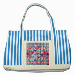 Leaves Paint Flower Of Life 01 Striped Blue Tote Bag by Cveti