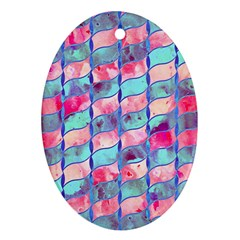 Leaves Paint Flower Of Life 01 Oval Ornament (two Sides) by Cveti