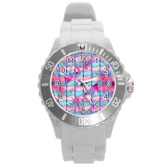 Leaves Paint Flower Of Life 01 Round Plastic Sport Watch (l) by Cveti