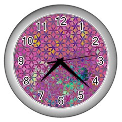 Flower Of Life Paint Purple  Wall Clocks (silver)  by Cveti