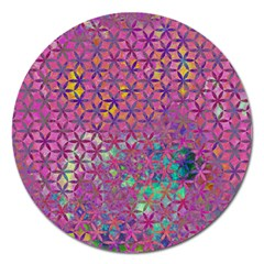 Flower Of Life Paint Purple  Magnet 5  (round) by Cveti