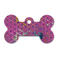 Flower Of Life Paint Purple  Dog Tag Bone (two Sides) by Cveti
