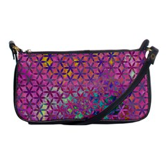 Flower Of Life Paint Purple  Shoulder Clutch Bags by Cveti