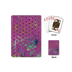 Flower Of Life Paint Purple  Playing Cards (mini)  by Cveti