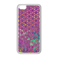 Flower Of Life Paint Purple  Apple Iphone 5c Seamless Case (white) by Cveti