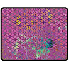 Flower Of Life Paint Purple  Double Sided Fleece Blanket (medium)  by Cveti