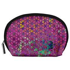 Flower Of Life Paint Purple  Accessory Pouches (large)  by Cveti