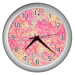Flower Of Life Paint Pattern 08jpg Wall Clocks (silver)  by Cveti