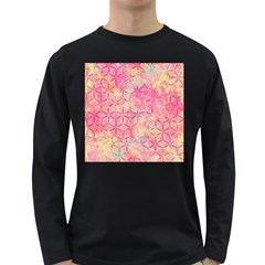 Flower Of Life Paint Pattern 08jpg Long Sleeve Dark T Shirts by Cveti