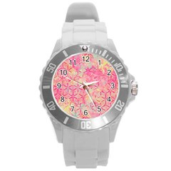 Flower Of Life Paint Pattern 08jpg Round Plastic Sport Watch (l) by Cveti