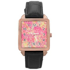 Flower Of Life Paint Pattern 08jpg Rose Gold Leather Watch  by Cveti