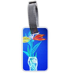 Dscf1451   Birds If Paradise In A Cristal Vase Luggage Tags (one Side)  by bestdesignintheworld