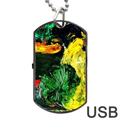 Tigers Lillies Dog Tag Usb Flash (one Side) by bestdesignintheworld