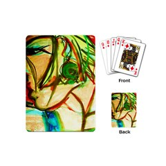 Girl In A Blue Tank Top Playing Cards (mini)  by bestdesignintheworld