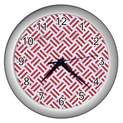 Woven2 White Marble & Red Denim (r) Wall Clocks (silver)  by trendistuff
