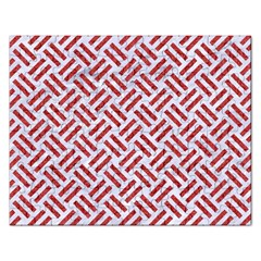 Woven2 White Marble & Red Denim (r) Rectangular Jigsaw Puzzl by trendistuff