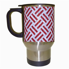 Woven2 White Marble & Red Denim (r) Travel Mugs (white) by trendistuff