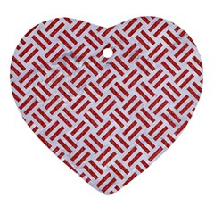 Woven2 White Marble & Red Denim (r) Heart Ornament (two Sides)