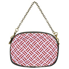 Woven2 White Marble & Red Denim (r) Chain Purses (one Side)  by trendistuff