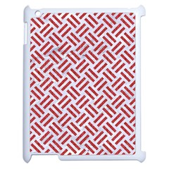 Woven2 White Marble & Red Denim (r) Apple Ipad 2 Case (white) by trendistuff