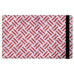 Woven2 White Marble & Red Denim (r) Apple Ipad 2 Flip Case by trendistuff