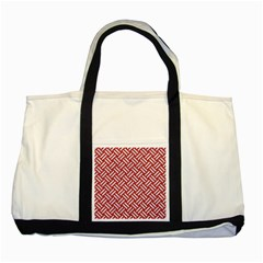 Woven2 White Marble & Red Denim Two Tone Tote Bag by trendistuff