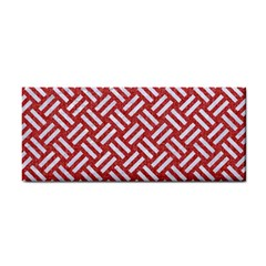 Woven2 White Marble & Red Denim Cosmetic Storage Cases by trendistuff