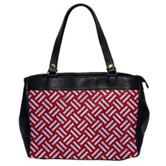Woven2 White Marble & Red Denim Office Handbags by trendistuff