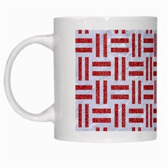 Woven1 White Marble & Red Denim (r) White Mugs by trendistuff