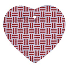 Woven1 White Marble & Red Denim (r) Heart Ornament (two Sides) by trendistuff