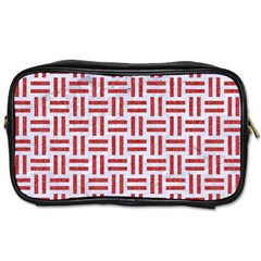 Woven1 White Marble & Red Denim (r) Toiletries Bags 2 Side by trendistuff