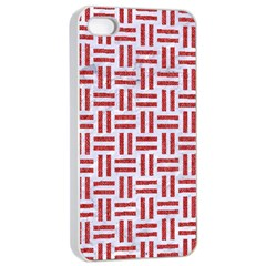 Woven1 White Marble & Red Denim (r) Apple Iphone 4/4s Seamless Case (white) by trendistuff