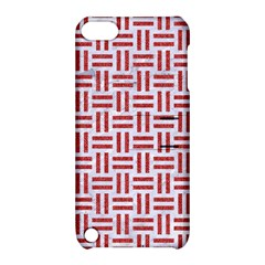 Woven1 White Marble & Red Denim (r) Apple Ipod Touch 5 Hardshell Case With Stand by trendistuff