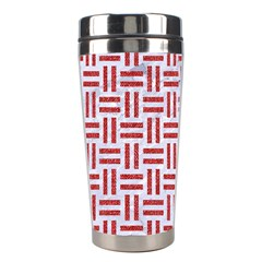 Woven1 White Marble & Red Denim (r) Stainless Steel Travel Tumblers by trendistuff