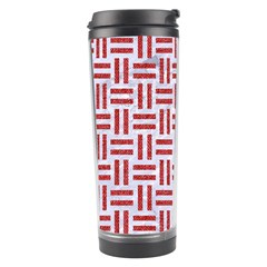 Woven1 White Marble & Red Denim (r) Travel Tumbler by trendistuff