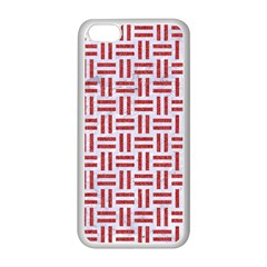 Woven1 White Marble & Red Denim (r) Apple Iphone 5c Seamless Case (white) by trendistuff