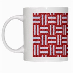 Woven1 White Marble & Red Denim White Mugs by trendistuff